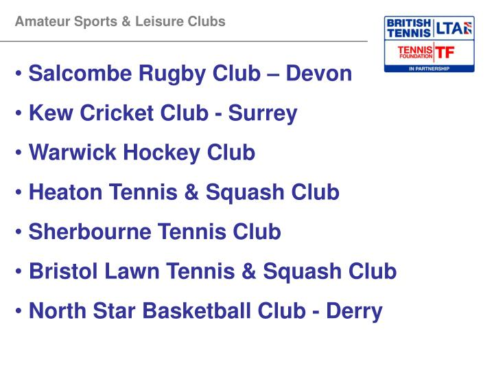Amateur Sports & Leisure Clubs