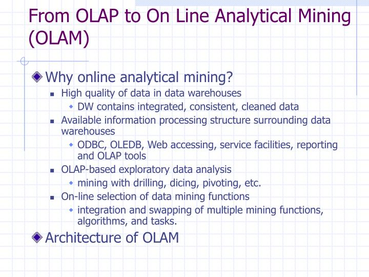 From OLAP to On Line Analytical Mining (OLAM)