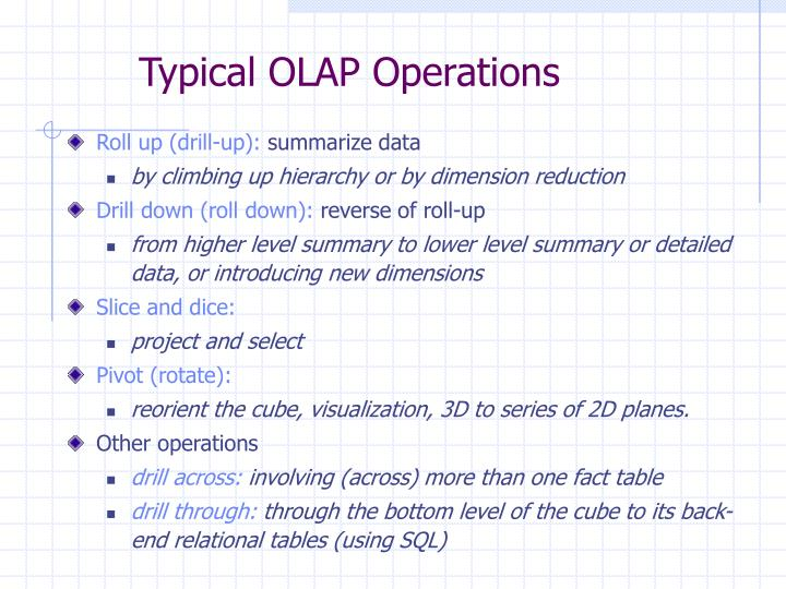 Typical OLAP Operations