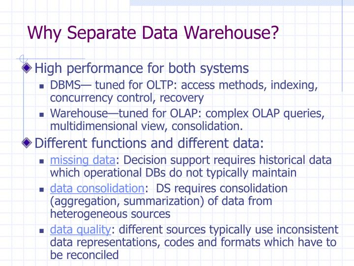 Why Separate Data Warehouse?
