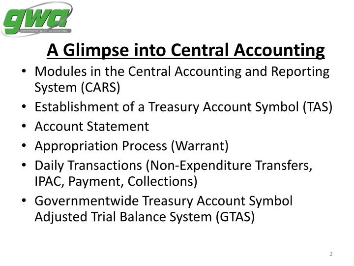 A glimpse into central accounting