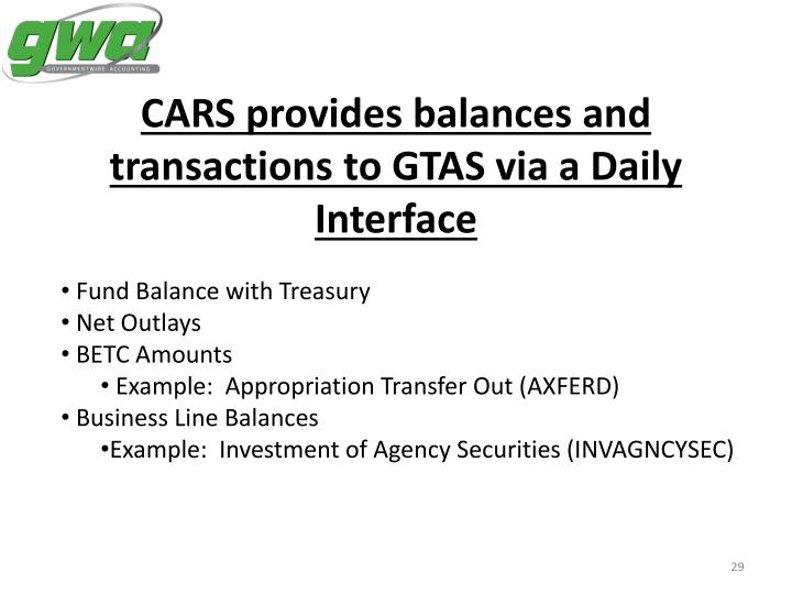 CARS provides balances and transactions to GTAS