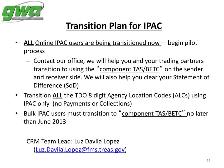 Transition Plan for IPAC