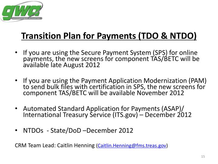 Transition Plan for Payments (TDO & NTDO)