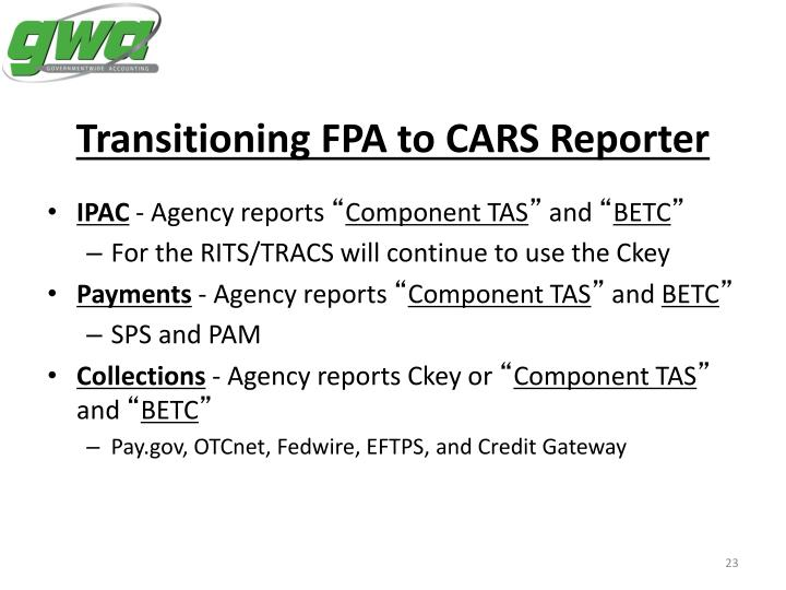 Transitioning FPA to CARS Reporter