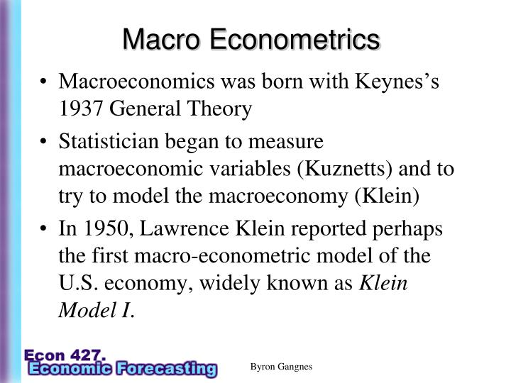 Macro Econometrics