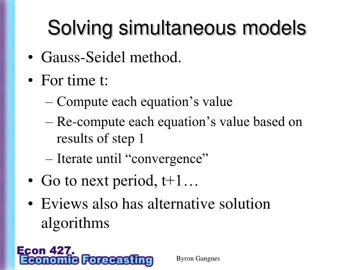 Solving simultaneous models