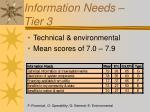information needs tier 3