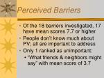 perceived barriers