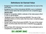 definitions for earned value