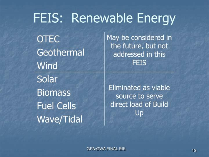 FEIS:  Renewable Energy