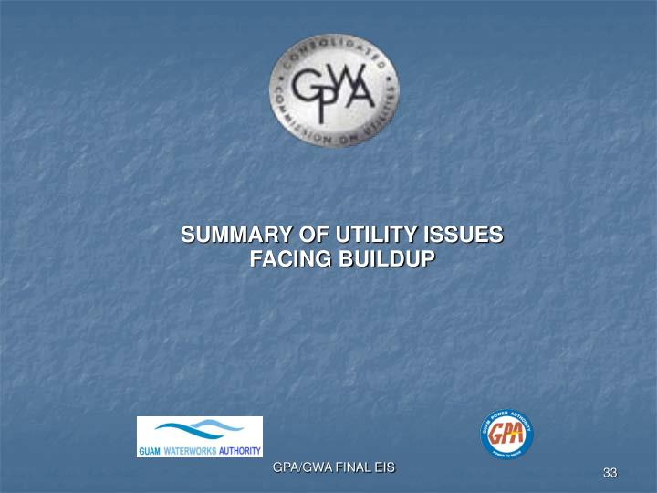 SUMMARY OF UTILITY ISSUES