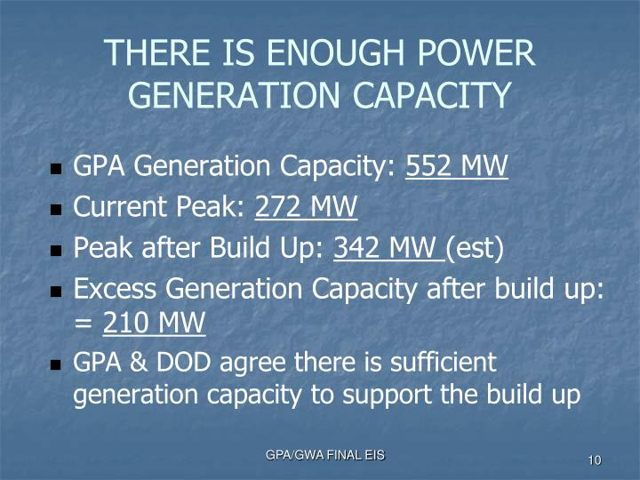 THERE IS ENOUGH POWER GENERATION CAPACITY