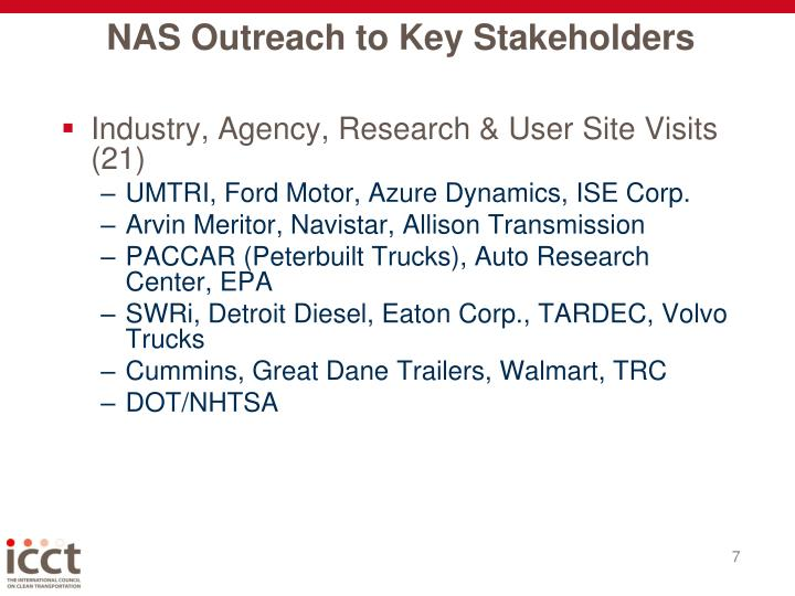 NAS Outreach to Key Stakeholders