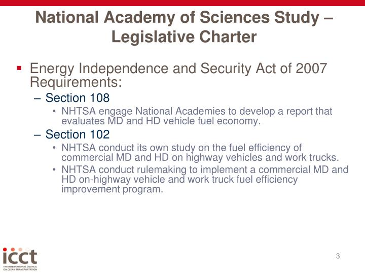 National academy of sciences study legislative charter