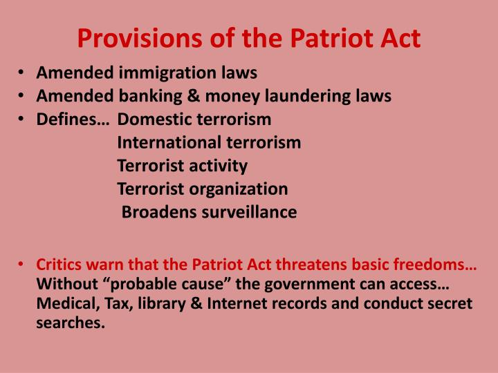 Provisions of the Patriot Act