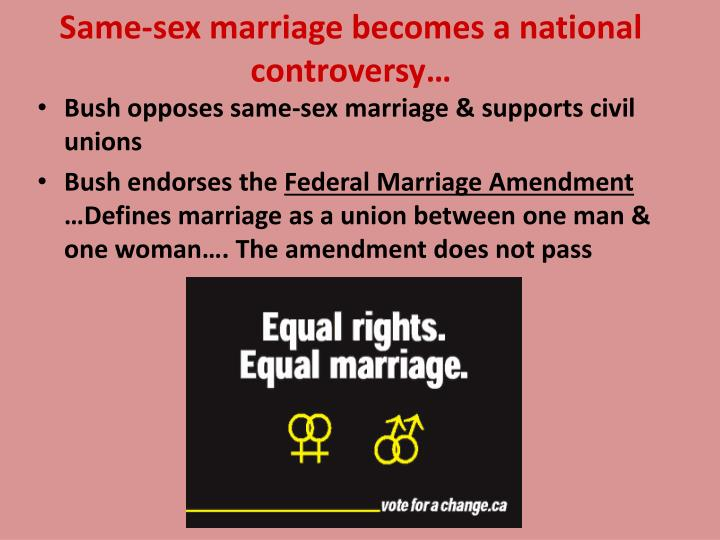 Same-sex marriage becomes a national controversy…