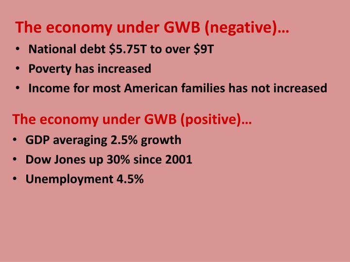 The economy under GWB (negative)…