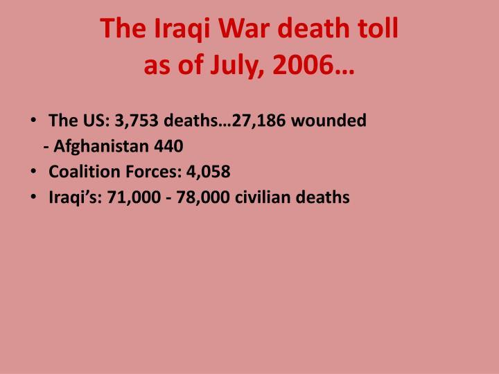 The Iraqi War death toll