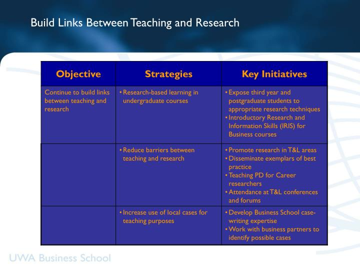 Build Links Between Teaching and Research