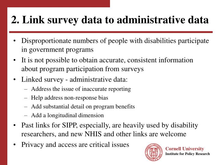 2. Link survey data to administrative data