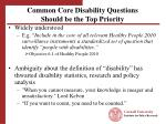 common core disability questions should be the top priority