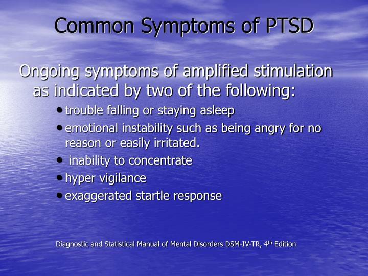 Common Symptoms of PTSD