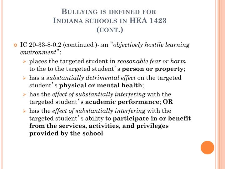Bullying is defined for