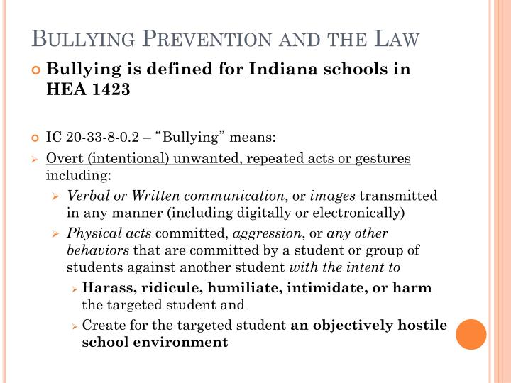 Bullying Prevention and the Law