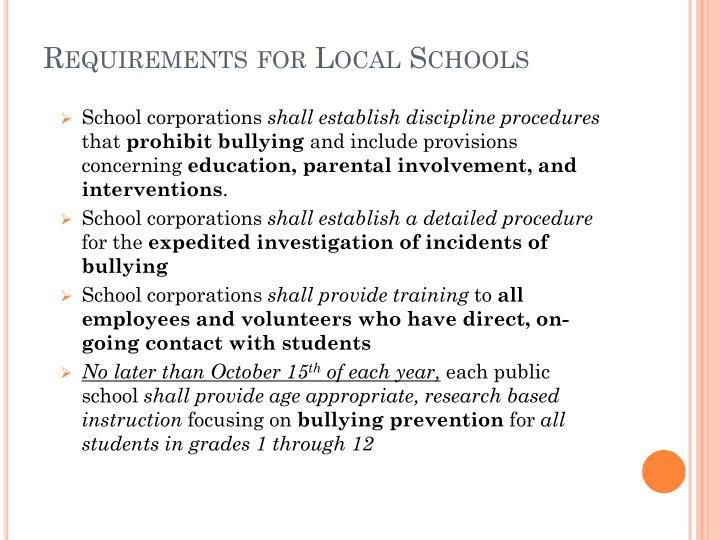 Requirements for Local Schools