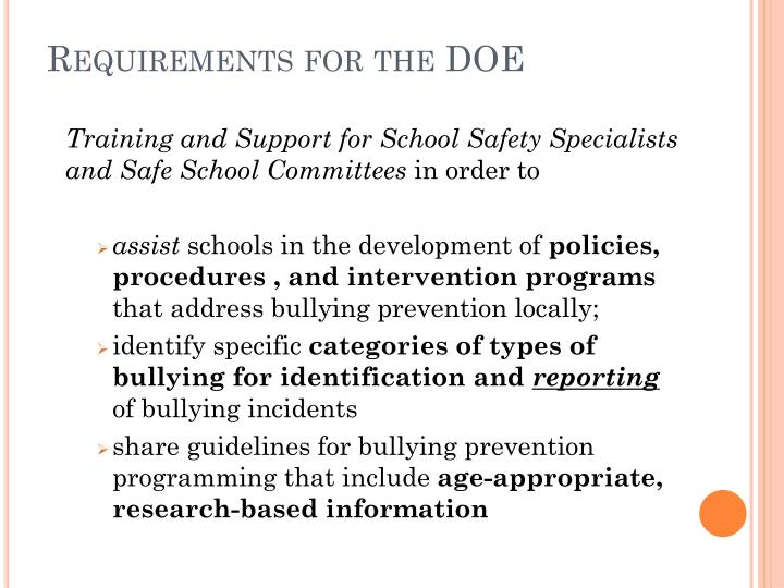 Requirements for the DOE