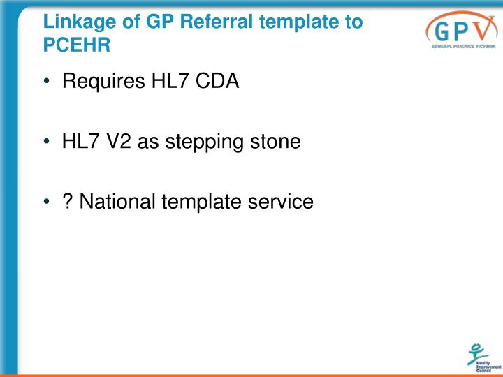 Linkage of GP Referral template to PCEHR
