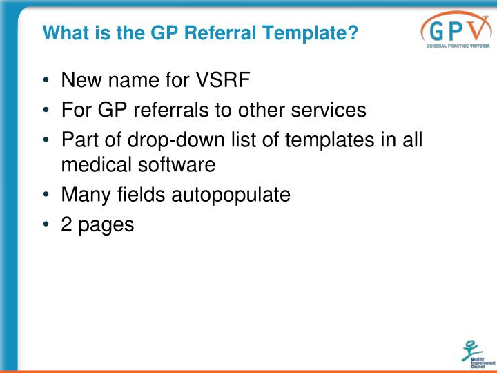 What is the GP Referral Template?