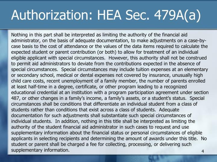 Authorization: HEA Sec. 479A(a)