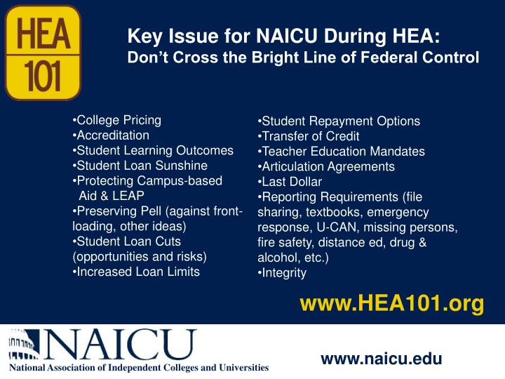 Key Issue for NAICU During HEA: