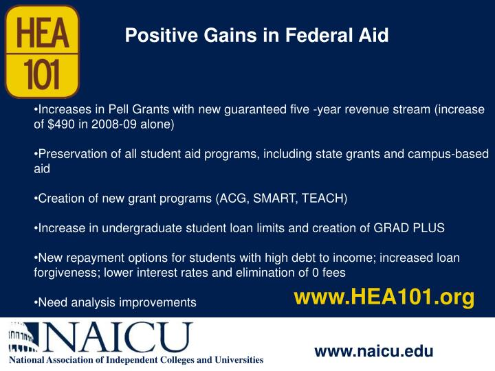Positive Gains in Federal Aid