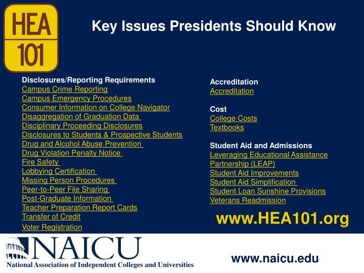 Key Issues Presidents Should Know
