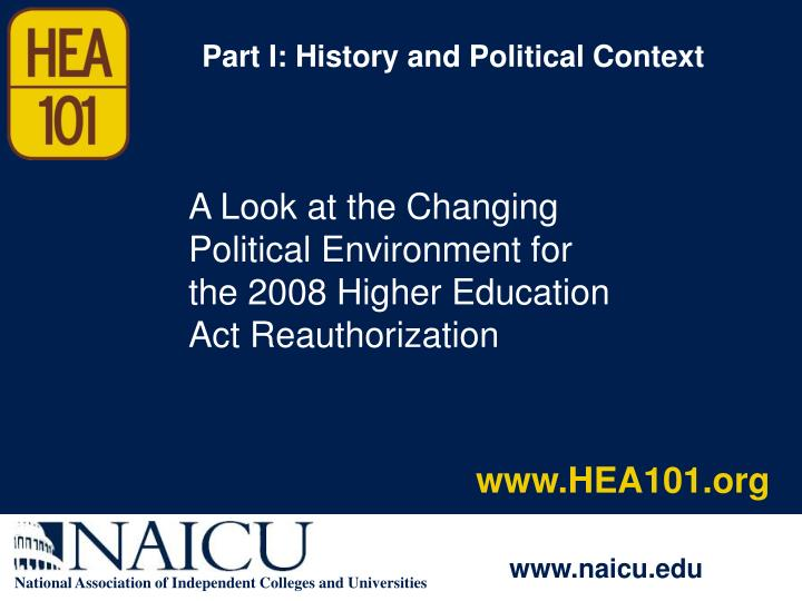 Part I: History and Political Context