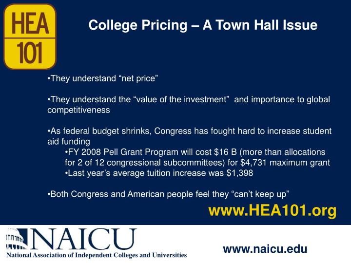 College Pricing – A Town Hall Issue
