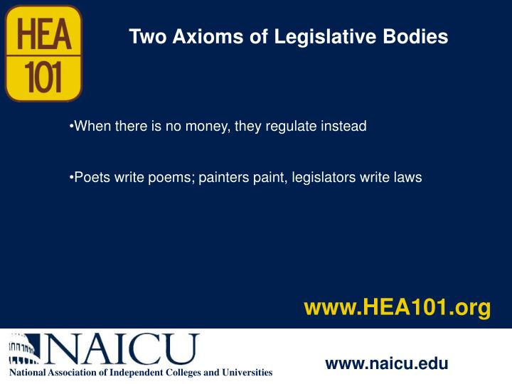 Two Axioms of Legislative Bodies