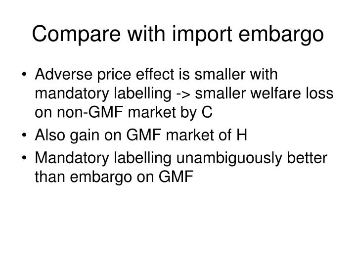 Compare with import embargo