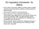eu regulatory framework for gmos