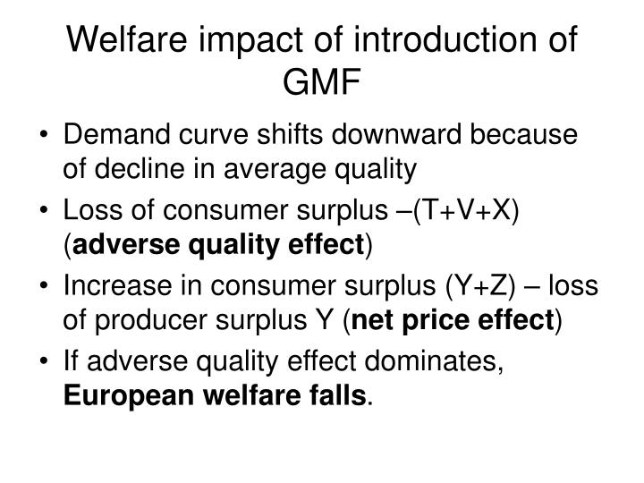 Welfare impact of introduction of GMF