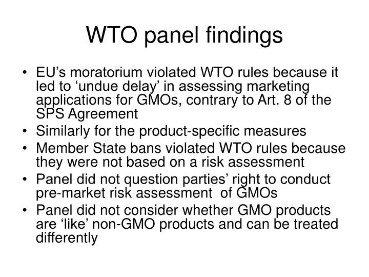 WTO panel findings