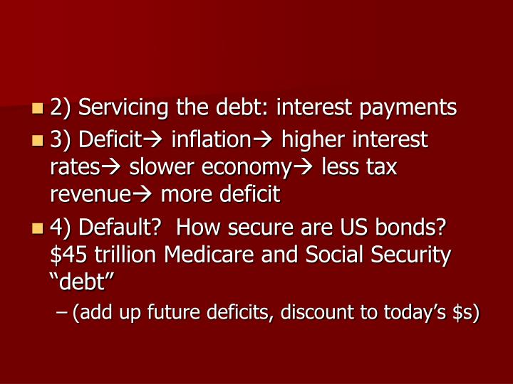 2) Servicing the debt: interest payments