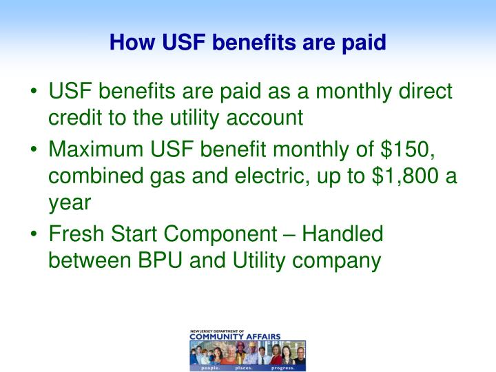 How USF benefits are paid