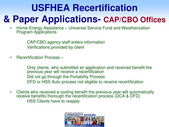 USFHEA Recertification