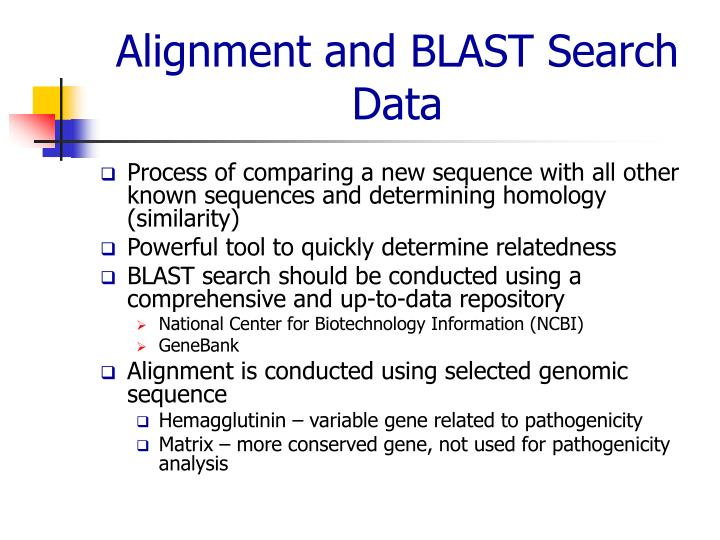 Alignment and BLAST Search Data