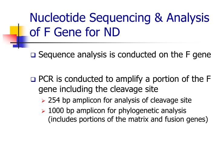 Nucleotide Sequencing & Analysis of F Gene for ND