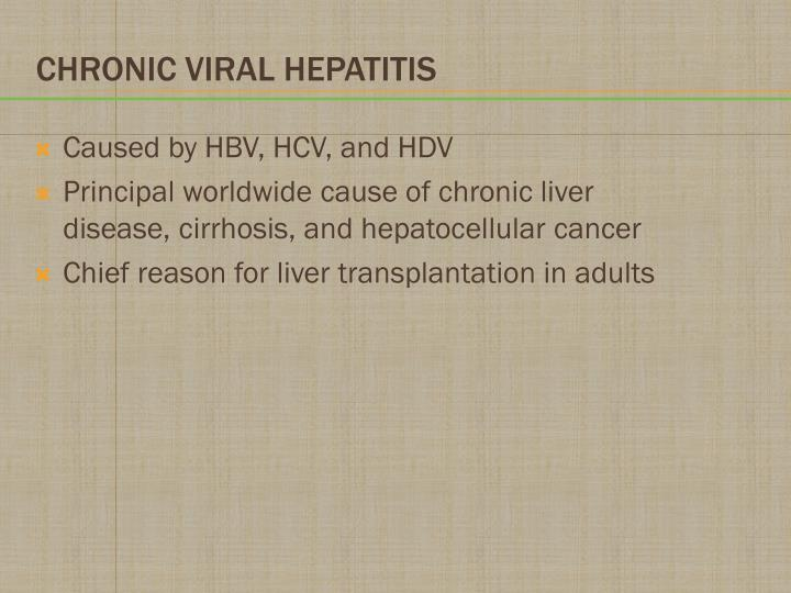 Caused by HBV, HCV, and HDV